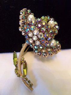 6e75d930e66 Alice Caviness Tulip Flower Pin Vintage Glass Rhinestone Pearl Gold Plate  Brooch #AliceCaviness Pearl Brooch