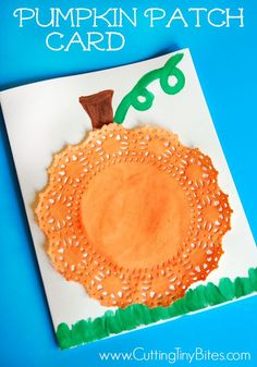 Fall or Halloween pumpkin patch card craft for preschool or elementary children. Simple materials, easy, and cute!