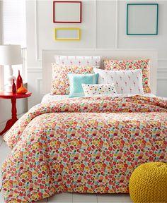 Martha Stewart Whim Collection Pretty in Poppy 5-Pc. Comforter Sets - Teen Bedding - Bed & Bath - Macy's