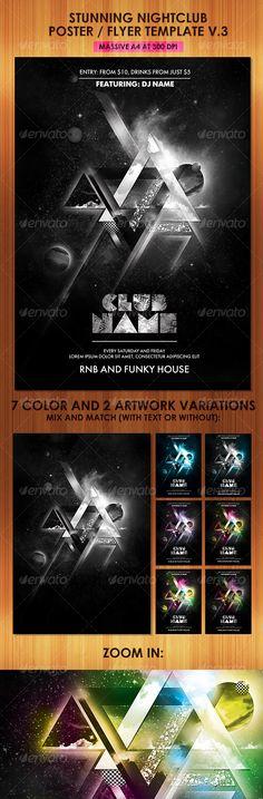 Print Templates - Stunning Nightclub Poster Flyer Template v3 | GraphicRiver
