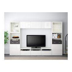 BESTÅ TV storage combination/glass doors, white, Selsviken high gloss/white clear glass white/Selsviken high gloss/white clear glass drawer runner, push-open 118 1/8x15 3/4x75 5/8