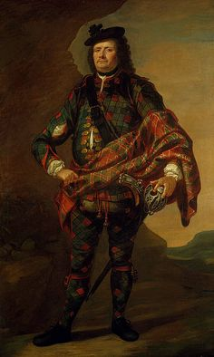 Major James Fraser of Castle Leathers, 1720 (1670 - 1760). Hanoverian supporter. by John Vanderbank. This remarkable portrait shows Major Fraser in the classic Highland outfit of tartan 'trews' and plaid. This style of dress was suitable for riding and seems to have been adopted by men of privilege in the early seventeenth century. National Galleries Scotland