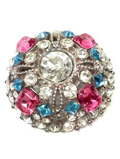 CHRISTOPHER RADKO Silver-tone Clear Pink & Turquoise Diamante Pin Brooch