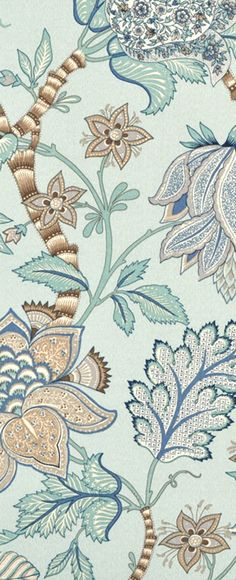 P. Kaufmann Outdoor Clarice Pacific Blue Fabric #floral #blue #decor…