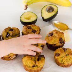 avocado muffin recipe, banana, chocolate, healthy, dairy free, low sugar, for kids, healthy snack