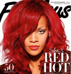 Rihanna Pictures . . . we've got em. Rihanna the hairstyle cameleon, I swear this woman never wears the same hairstyle two days in a row. Come on in and see why I write about her more than any other celeb.Rihanna's wavy red hot long hair with side swept bangs