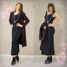 Dress to impress!!! Γυναικείο maxi μαύρο φόρεμα και μωβ overcoat για εντυπωσιακές βραδινές εμφανίσεις!  #metaldeluxe #womansclothes #womnansdress #dress #blackdress #winterclothes #winterfashion #womansfashion #newarrivals #style #chic #maxidress #stylish #fashionista