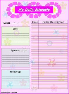 Day planner template for kids - Google Search
