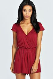 Heather Capped Sleeve Wrap Jersey Playsuit