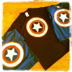 Captain America/4th of July shirts Fabric paint and homemade stencils