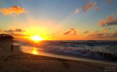 Sunset at Sunset Beach Oahu Hawaii #romantic #beach #walk #surf #orange #sun