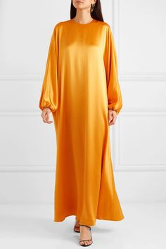 Orange silk-satin Keyhole hook fastening at back silk Dry clean Designer color: Turmeric Made in England Kimono Fashion, Girl Fashion, Fashion Outfits, Satin Dresses, Chiffon Dress, Satin Gown, Silk Satin, Kimono Satin, Maroon Bridesmaid Dresses