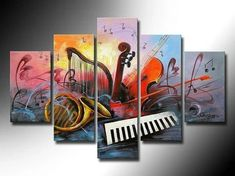 Hot Horn Violin Music Oil Painting High Quality 5 Pcs Abstract Sets On Canvas Home Decoration Modern Picture For Living Room Hand Painting Art, Online Painting, Acrylic Painting Canvas, Paintings Online, Painted Canvas, Large Painting, Music Painting, Hand Painted, Music Artwork