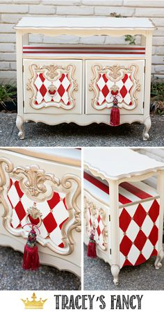 Whimsical Furniture - Red and White Harlequin Traceys Fancy #furniture #furnituremakeover | Painted Furniture Ideas | Painted Coffee Cart | Early American Furniture #Paintedfurniture
