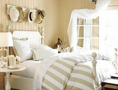 Beach cottage bedroom - I need 5 more bedrooms. Bedroom Decoration with DIY Ruffled Pieces Tips for bedroom rug placement. Bedroom Bed, Bedroom Decor, Bed Room, Master Bedrooms, Seaside Bedroom, Khaki Bedroom, Bedroom Ideas, Airy Bedroom, Peaceful Bedroom