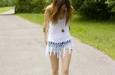 Turn an ordinary tank into a fun fringe look. | 41 Awesomely Easy No-Sew DIY Clothing Hacks