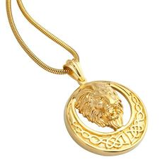 316 Stainless Steel Plate 18k Gold Mens Necklace Snake Chain Circle Lion Head Pendant - Adisaer