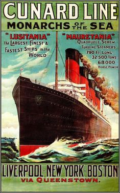 Cunard - Line -- Liverpool - New York - Boston