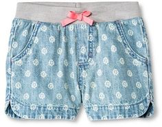 Cherokee Toddler Girls' Floral Jean Short Light Wash - Cherokee®