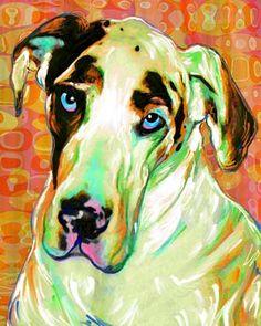 Great Dane Portrait Custom Dog Art
