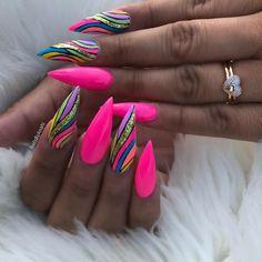Bright Nails, Neon Nails, Swag Nails, Pink Nails, Bling Acrylic Nails, Best Acrylic Nails, Fancy Nails, Cute Nails, Nail Design Stiletto