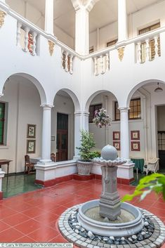 A fountain in the open air atrium at the centre of the Bulawayo Club. Railway Museum, Victoria Falls, African Countries, Zimbabwe, Atrium, Campsite, Homeland, Bed And Breakfast, Lodges