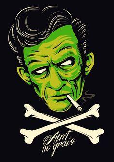 Johnny Cash psychobilly/ rockabilly, zombie, Frankenstein's monster inspired.
