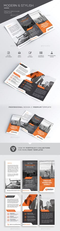 Stylish & Modern Business Trifold Brochure Template A highly versatile corporate trifold brochure suitable for all business indust Graphic Design Flyer, Corporate Brochure Design, Company Brochure, Brochure Layout, Pamphlet Design, Booklet Design, Cool Business Cards, Elegant Business Cards, Folders