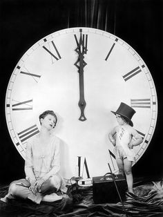 Looks like Myrna Loy couldn't quite stay up until midnight in this delightful 1920s New Year's Eve photo :)