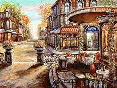 Artist Vadik Suljakov showcased at Pierside Gallery, Landscape Pictures, Landscape Paintings, Animal Crossing Villagers, Z Arts, Thomas Kinkade, Naive Art, Detail Art, Russian Art, Urban Landscape
