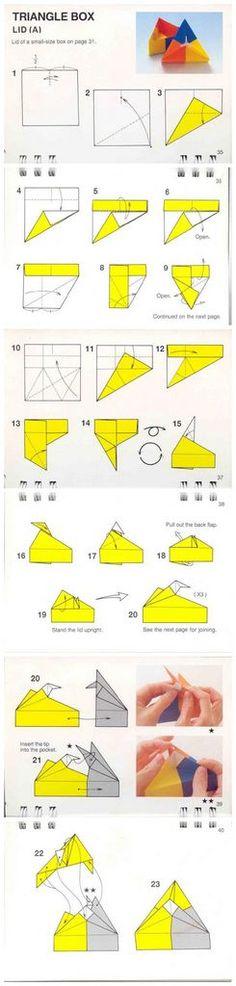 diagramme origami modulaire boîte triangulaire avec couvercle en pointe
