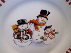 Trisa/Merry Brite Holiday Snowman 4 pc Place Setting(s) Dinner Salad Bowl & Mug