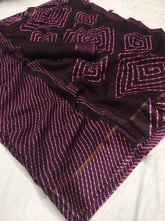 Pink Embellished Kota Silk Sari Floral Fabric Craft Saree With Matching Blouse Kota Silk Saree, Chiffon Saree, Cotton Saree, Silk Sarees, Saris, Kota Sarees, Indian Beauty Saree, Indian Sarees, Saree Wedding