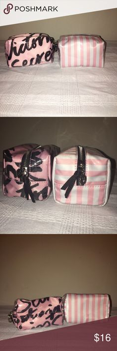 2 Victoria's Secret bags 2 Victoria's Secret bags! Both plastic coated for easy wash and durable use! Sturdy zippers with adorable Victoria's Secret prints! Victoria's Secret Bags