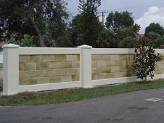When looking for a unique alternative to a standard wood fence, the possibilities of precast fence panels are vast to match any exterior décor. Fence Wall Design, Stone Wall Design, House Front Design, Fence Design, Door Design, Concrete Fence Wall, Boundry Wall, Exterior Wall Tiles, Compound Wall Design