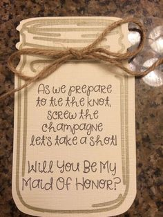 Will You Be My Bridesmaid/Maid of Honor Card- Rustic, Mason Jar by DesignedByDandelion on Etsy https://www.etsy.com/listing/243199123/will-you-be-my-bridesmaidmaid-of-honor