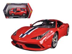 Ferrari 458 Speciale Red 1/18 Diecast Model Car by Bburago - Brand new 1:18 scale diecast model of Ferrari 458 Speciale Red die cast model car by Bburago. Has steerable wheels. Brand new box. Rubber tires. Has opening hood, doors and trunk. Made of diecast with some plastic parts. Detailed interior, exterior, engine compartment. Dimensions approximately L-10, W-4, H-3 inches. Please note that manufacturer may change packing box at anytime. Product will stay exactly the same.-Weight: 4…
