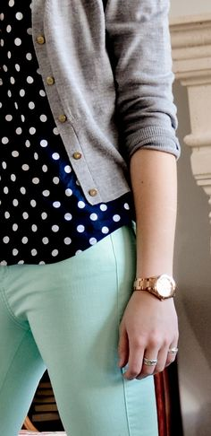 Navy polka-dot tie blouse, grey boyfriend cardigan, mint cropped pants, nude flats