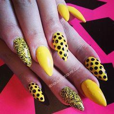 Yellow polka dot nail designs