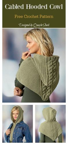 Crochet cowl cable Strategies Cabled Hooded Cowl Free Crochet Pattern Fantastic Images Crochet cowl cable Strategies Cabled Hooded Cowl Free Crochet Pattern Maid Marian Hooded Bandana Knitting pattern by Grace Sines Beau Crochet, Poncho Au Crochet, Bonnet Crochet, Crochet Beanie, Knit Crochet, Crochet Hooded Cowl, Hooded Poncho, Crochet Vests, Crochet Tops