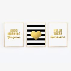 Good Morning Gorgeous, Hello There Handsome, Heart - Set of 3 Wall Art