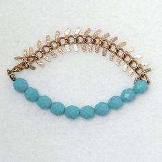 Bracelet Blue Bohemian Beads Large Golden Chain / by bleuluciole