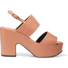 Robert Clergerie Emple leather platform sandals ($535) ❤ liked on Polyvore featuring shoes, sandals, slingback sandals, tan high heel sandals, leather platform sandals, chunky-heel sandals and leather shoes