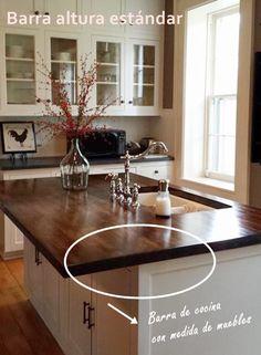 Barras de cocina qué altura es la correcta 5 Kitchen Island, House Design, Cool Stuff, Furniture, Home Decor, Tables, Rooms, American Kitchen, Bijoux