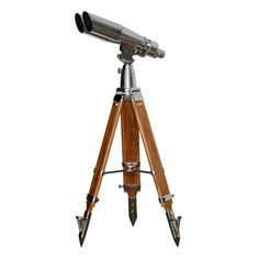 Steel and wooden binoculars on tripod. Vintage Binoculars, Cool Inventions, Big Eyes, Stargazing, Tripod, Telescope, Wwii, Wander, Buy Now