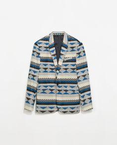 JACQUARD PATTERN BLAZER Ref. 1608/405  119.00 CAD OUTER SHELL  67% POLYESTER, 33% VISCOSE  LINING  100% POLYESTER