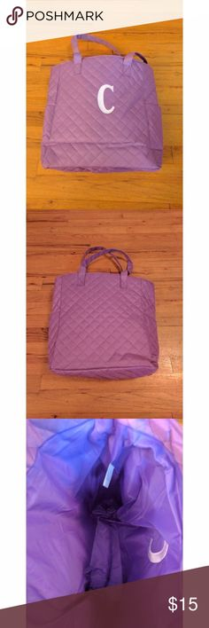 """GREAT GIFT IDEA! Monogrammed 'C' Tote Bag NWOT Monogrammed 'C' Tote Bag. Interior is lined and there is a pocket on each side of the bag. Approximate size: 13""""H x 13""""W x 5""""D; Strap drop 9.5"""".  No trades. Smoke-free home. Bags"""