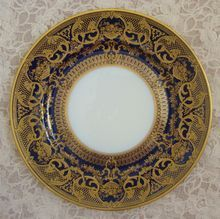 Limoges B & C  L. Bernardaud & Co. France Cobalt Blue & Raised Encrusted Gold Victorian Art Nouveau Cabinet Plate French
