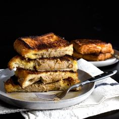 French toasts with creme brulee crust and stuffed creamy chestnut paste.