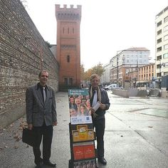 @yohannelias shares: My father and me preaching in front of the watchtower the entrance of Saint- Michel prison in Toulouse south of France. Some years ago a brother from our congregation spent three years in this prison for his integrity. In France military service is not an obligation anymore for young men so young brothers can serve Jehovah freely. This prison is empty now and they will build inside habitations homes and gardens. Three times a week brothers and sisters from our…